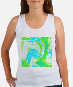 neon turquoise green swirls Tank Top