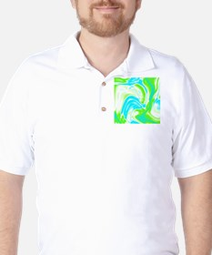 neon turquoise green swirls Golf Shirt
