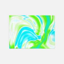 neon turquoise green swirls 5'x7'Area Rug