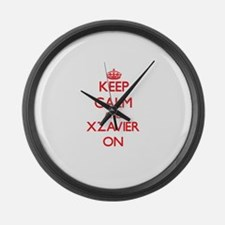 Keep Calm and Xzavier ON Large Wall Clock