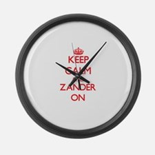 Keep Calm and Zander ON Large Wall Clock