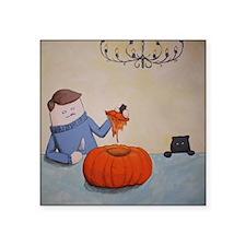 "Carvin' the Pumpkin Square Sticker 3"" x 3"""