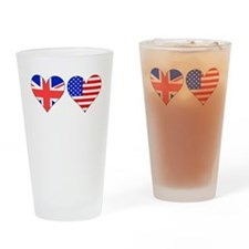 British American Hearts Drinking Glass