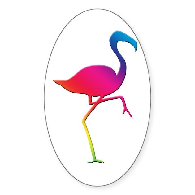 Rainbow Flamingo Sticker (Oval) by stargazerdesign