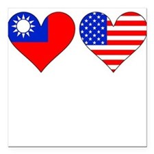 """Taiwanese American Hearts Square Car Magnet 3"""" x 3"""