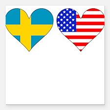 "Swedish American Hearts Square Car Magnet 3"" x 3"""