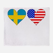 Swedish American Hearts Throw Blanket
