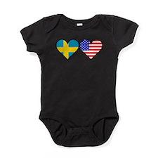 Swedish American Hearts Baby Bodysuit
