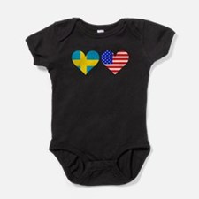 Swedish American Hearts Baby Bodysuit