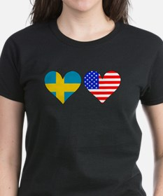 Swedish American Hearts T-Shirt