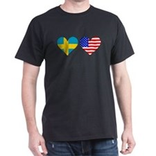 Swedish American Hearts T-Shirt
