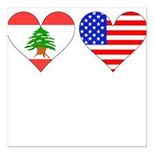 "Lebanese American Hearts Square Car Magnet 3"" x 3"""
