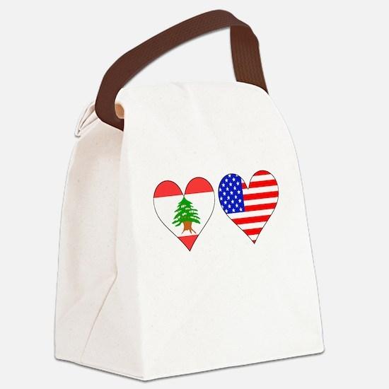 Lebanese American Hearts Canvas Lunch Bag