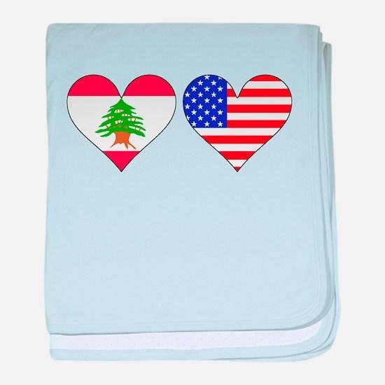 Lebanese American Hearts baby blanket
