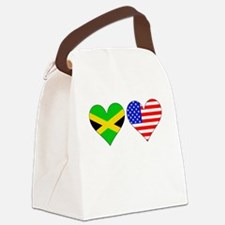 Jamaican American Hearts Canvas Lunch Bag