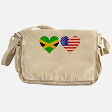 Jamaican American Hearts Messenger Bag