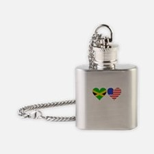 Jamaican American Hearts Flask Necklace