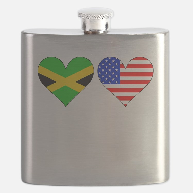 Jamaican American Hearts Flask