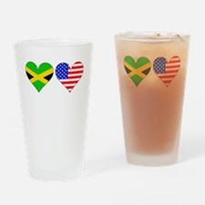 Jamaican American Hearts Drinking Glass