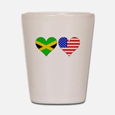 Jamaican American Hearts Shot Glass