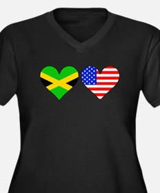 Jamaican American Hearts Plus Size T-Shirt