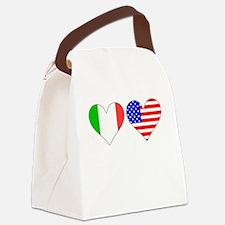 Italian American Hearts Canvas Lunch Bag