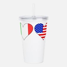 Italian American Hearts Acrylic Double-wall Tumble