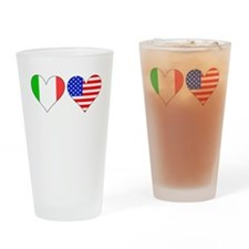 Italian American Hearts Drinking Glass