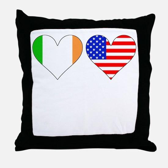 Irish American Hearts Throw Pillow
