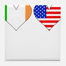 Irish American Hearts Tile Coaster