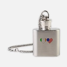 Irish American Hearts Flask Necklace