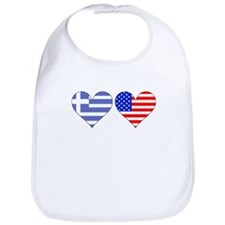 Greek American Hearts Bib