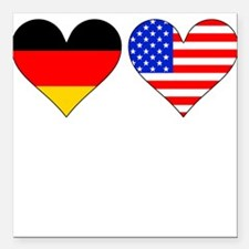 "German American Hearts Square Car Magnet 3"" x 3"""