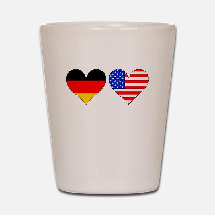 German American Hearts Shot Glass