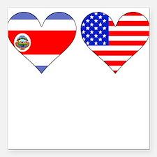 "Costa Rican American Hearts Square Car Magnet 3"" x"