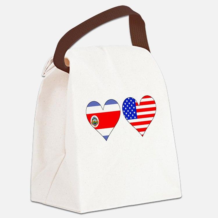 Costa Rican American Hearts Canvas Lunch Bag