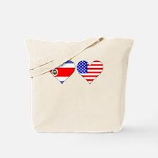 Costa Rican American Hearts Tote Bag