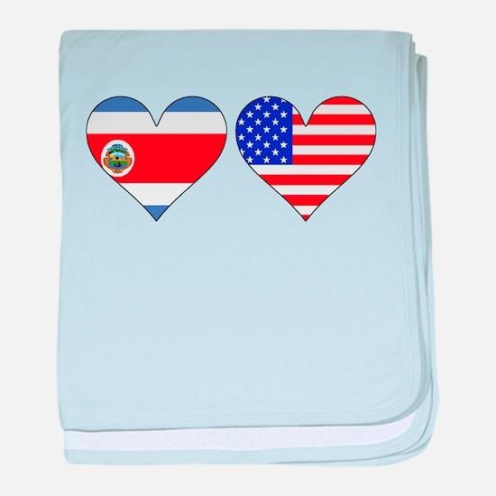 Costa Rican American Hearts baby blanket