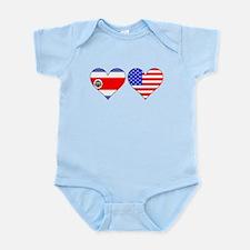 Costa Rican American Hearts Body Suit