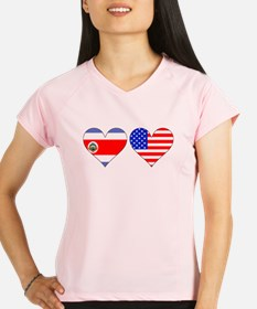 Costa Rican American Hearts Performance Dry T-Shir