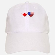 Canadian American Hearts Baseball Baseball Baseball Cap