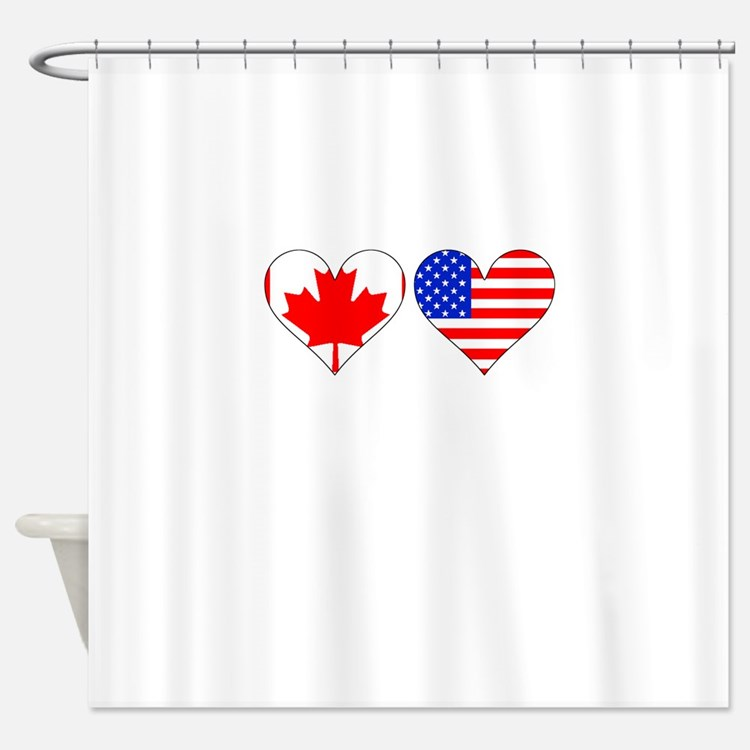 Canadian American Hearts Shower Curtain