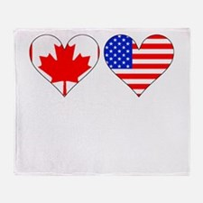 Canadian American Hearts Throw Blanket