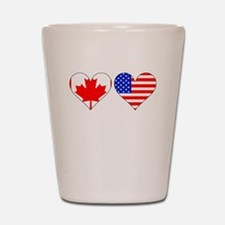 Canadian American Hearts Shot Glass