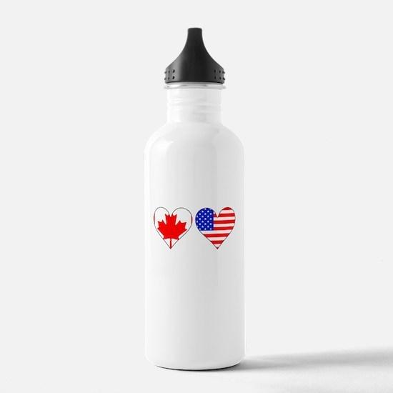 Canadian American Hearts Water Bottle