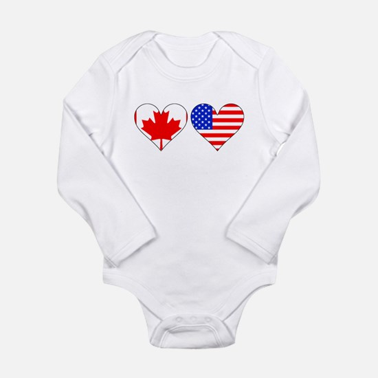 Canadian American Hearts Body Suit