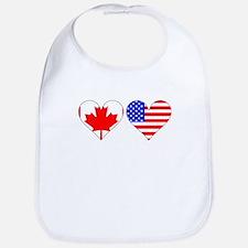 Canadian American Hearts Bib