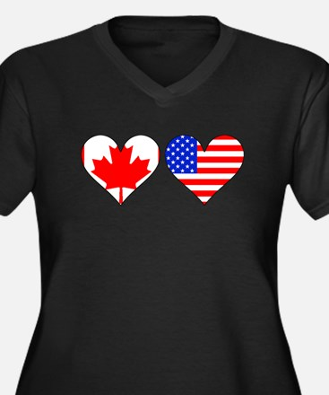 Canadian American Hearts Plus Size T-Shirt