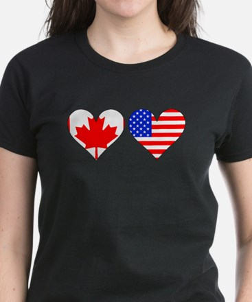 Canadian American Hearts T-Shirt