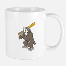 Badger Baseball Player Batting Isolated Cartoon Mu